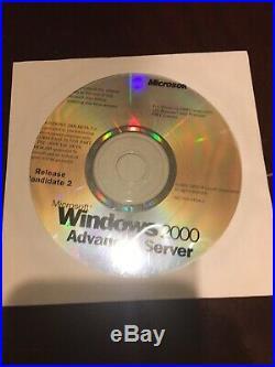 100% Genuine Microsoft Windows 2000 Server. Adv, Pro, Dev 4 CDs. Never Used