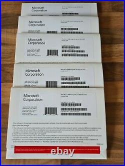 5 x Windows 10 Pro Professional 64 Bit Packs DVD, COA Brand New, Sealed