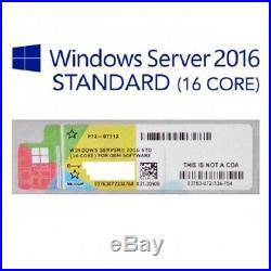5x MICROSOFT WINDOWS SERVER 2016 (16 CORE) STANDARD LABEL STICKER COA x5 LABEL