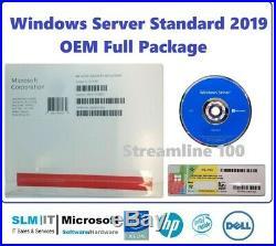 Factory Sealed Microsoft Windows Server 2019 STANDARD 64BIT DVD/COA 16CORES OEM