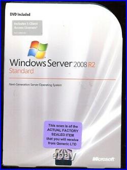 Factory Sealed P73-04754 Microsoft Windows Server 2008 R2 Standard 5 CAL