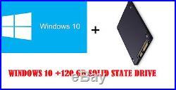 Genuine Microsoft Windows 10 Pro+128GB Solid State Drive installed + License key