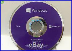 Genuine Sealed box Microsoft Windows 10 Pro 64 Bit DVD with coa