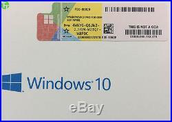 Genuine Sealed box Microsoft Windows 10 Pro 64 Bit DVD with product key coa