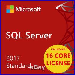 MSFT SQL Server 2017 Standard Edition 64bit 16 CORE UNLIMITED USERS FLASH SALE