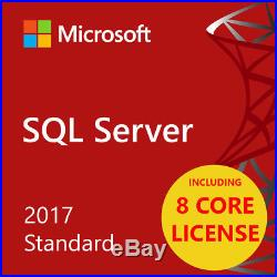 MSFT SQL Server 2017 Standard Edition 64bit 8 CORE Edition UNLIMITED USERS