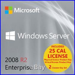 MSFT Server Window 2008 R2 Enterprise Edition 64 bit x64 1-8CPU / 25 CAL