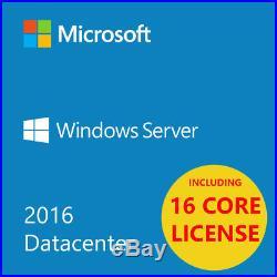 MSFT Window Server 2016 Datacenter Edition x64 64 bit 16 cores 2 CPU 1daysale