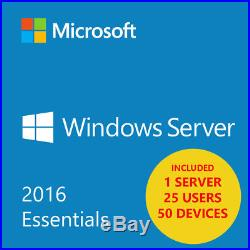 MSFT Window Server 2016 Essentials 25 USER 50 DEVICES 1 SERVER EDITION x64