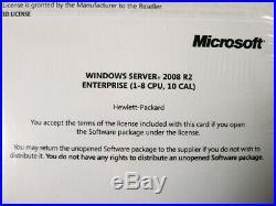 Microsoft HP ROK Windows Server 2008 R2 Enterprise DVD 1-8 CPU 10 CAL (NEW)