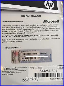 Microsoft SBS 2011 Standard Edition inc 5 CAL HP ROK Small Business Server