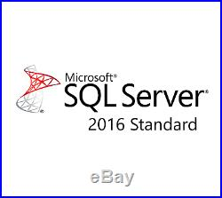 Microsoft SQL Server 2016 Standard Edition 2 Core License with Unlimited CALs