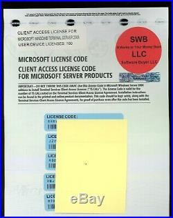 Microsoft Terminal Server RDS 2008 100 User/Device CAL License