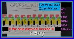 Microsoft Windows 10 PROFESSIONAL COA OEM Sticker key license 50x-WIN 10 Pro