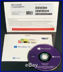 Microsoft Windows 10 Pro Vollversion SB 64-Bit mit Hologramm-DVD DE OVP NEU