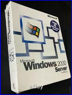 Microsoft Windows 2000 Server Software SEALED In Retail Box + 25 Client Licenses