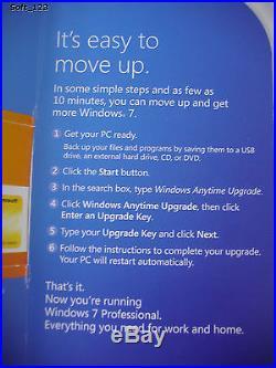 Microsoft Windows 7 Home Premium to Professional Anytime Upgrade =BRAND NEW=