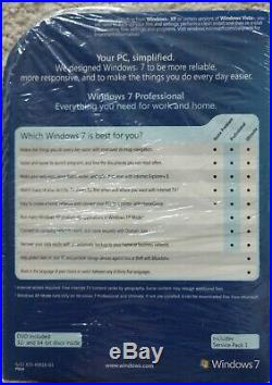 Microsoft Windows 7 Professional Full 32 & 64 bit RETAIL DVD with License Key