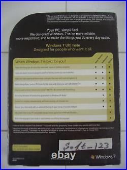 Microsoft Windows 7 Ultimate Upgrade 32 & 64 Bit DVDs MS WIN=SEALED RETAIL BOX=