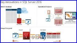 Microsoft Windows SQL Server STANDARD 2016 64BIT 16 CORES w30 CALs RETAIL CARD
