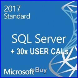 Microsoft Windows SQL Server STANDARD 2017 64BIT Retail CARD 16 CORES + 30 CALs