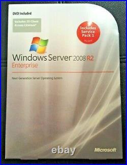 Microsoft Windows Server 2008 R2 Enterprise, SKU P72-03827,25 CAL, Full Retail Box