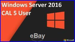 Microsoft Windows Server 2016 CAL 5 User / Benutzer Nutzer 5Cals Zugriffslizenz