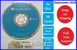 Microsoft Windows Server 2016 Datacenter 16CORES 64BIT 50 RDS USER + 50+50 CALs