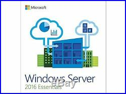 Microsoft Windows Server 2016 Essentials License and Media- 25 user, 1 Server