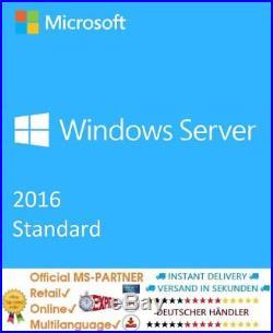 Microsoft Windows Server 2016 Standard 16 CORE & 64BIT RETAIL KEIN ABO NEU