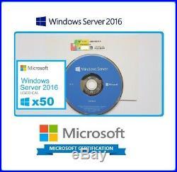 Microsoft Windows Server 2016 Standard 2x CPU 16 CORES 64BIT DVD & COA + 50 CALS