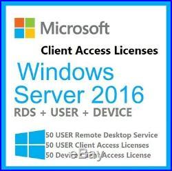 Microsoft Windows Server 2016 Standard 64BIT + 50 RDS + 50 USER + DEVICE CALs