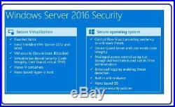 Microsoft Windows Server 2016 Standard 64Bit DVD & COA + 50 RDS USER CALS