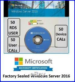 Microsoft Windows Server 2016 Std 2CPU DVD COA + 50 RDS + 50USER CALs + 50Device