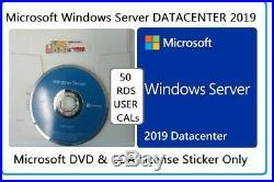 Microsoft Windows Server 2019 DATACENTER 2CPU 64Bit DVD & COA + 50 RDS USER CALs