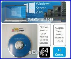 Microsoft Windows Server 2019 DATACENTER (DVD & COA) 50 RDS USER + 50 USER CALs