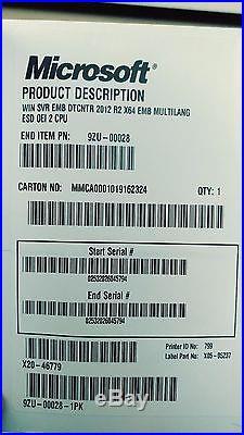 Microsoft Windows Server DataCenter 2012 R2 (2-CPU) SEALED PN 9ZU-00028 with USB