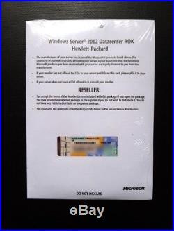 Microsoft Windows Server Datacenter 2012 HP ROK 2 CPU 701910-A22 NEW