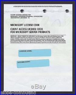 Microsoft Windows Terminal Server 2008 25 CAL User RDS Remote Desktop Services