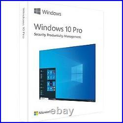 NEW! Microsoft Windows 10 Pro 32/64-Bit 1 License Box Retail Flash Drive Interna