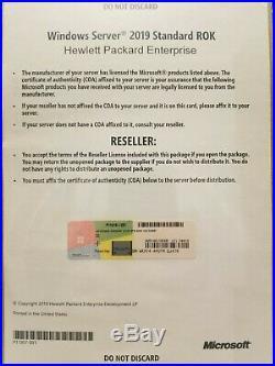 NEW Microsoft Windows Server 2019 Standard 64bit HPE ROK DVD