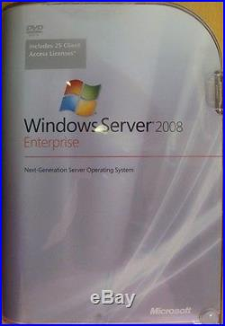 New Microsoft Windows Server 2008 Enterprise inc 25 CAL P72-02906