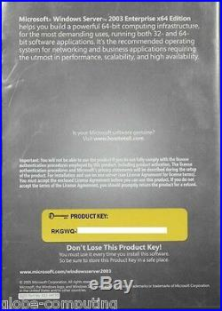 Retail Microsoft Windows Server 2003 x64 Enterprise 25 CAL