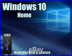 Windows 10 Home 64bit & 32bit Licence + bootable USB Key 100% genuine