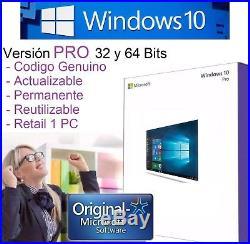 Windows 10 Pro Licencia RETAIL 1 PC 32 64 bits Genuina Original y Permanente