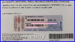 Windows 2011 Small Business Server SBS Standard 64 Bit 1-4CPU inkl. 5 CAL HP ROK
