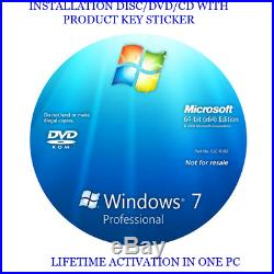 Windows 7 PROFESSIONAL 64Bit Installation/Format HDD DVD Disc and Product key