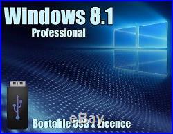 Windows 8.1 Pro Professional 64bit Licence + bootable USB key 100% genuine