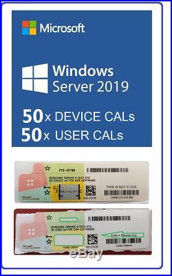 Windows Server 2019 Standard/Datacenter Combo Of 50 DEVICE / 50 USER OEM CALs