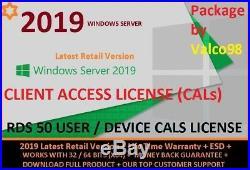 Windows server 2019 remote desktop services RDS 50 User/Device CAL`s+ESD